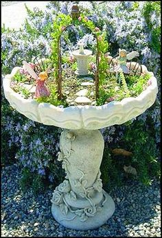 a Miniature Garden I just love this little fairy garden made in an old bird bath! How sweet is this?I just love this little fairy garden made in an old bird bath! How sweet is this? Garden Art, Garden Projects, Plants, Outdoor, Fairy Garden Bird Bath, Fairy Garden Fountain, Fairy Garden Houses, Fairy Garden, Garden Inspiration