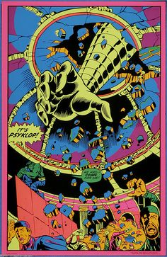 I want a room devoted to these groovy black light posters & a lava lamp! I think much of the artwork is by Gene Colan . Comic Books Art, Comic Art, Book Art, Jack Kirby Art, Stoner Art, Black Light Posters, Futuristic Art, Incredible Hulk, Psychedelic Art