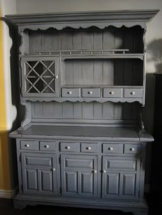 gray blue color, by European Paint Finishes French Furniture, Painted Furniture, Refinished Furniture, Furniture Refinishing, Distressed Furniture, Fine Furniture, Repurposed Furniture, Buffets, China Hutch Makeover