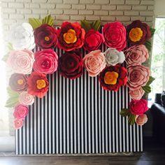 Instagram @craftymakize Kate spade inspired paper flower backdrop nursery