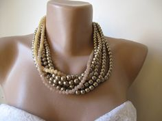 Chunky layered Wedding mink color glass pearl by galladesign, $45.00