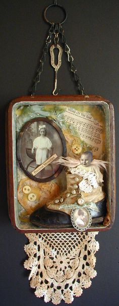 Wood Shadow Box Original Assemblage Art  door SweetPeaVintageArt