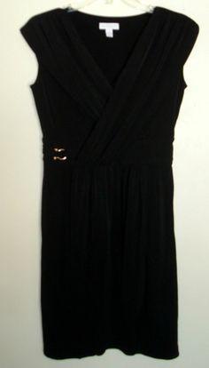 Charter Club NEW Black Faux Wrap Dress Size 6 Shift Matte Jersey Stretch NWD