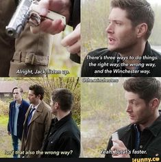 Love the Winchester way 😍😍😂 supernaturalfandom supernatural love way dean sam loveit series englishthroughseries series english teacher sunday sundayvibes Supernatural Tattoo, Supernatural Imagines, Supernatural Tv Show, Supernatural Funny Quotes, Winchester Supernatural, Spn Memes, Funny Memes, Hilarious, Destiel