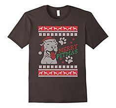 Amazon.com: Pitbull Christmas T Shirt MERRY PITMAS Funny Tee T-shirt: Clothing