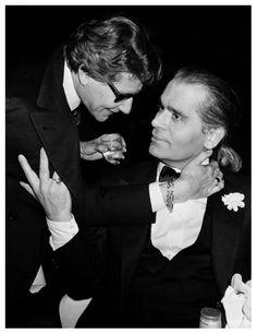 Yves Saint Laurent and Karl Lagerfeld in New York, 1983. Photo: Roxanne Lowitt.