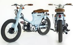 "Honda ""The Little Blue"" by Deus Ex Machina - Lsr Bikes Small Motorcycles, Honda Motorcycles, Custom Motorcycles, Custom Bikes, Vintage Motorcycles, Honda Scooters, Motos Honda, Motor Scooters, Honda Cub"