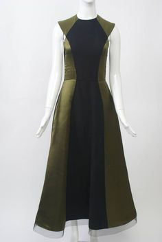 Geoffrey Beene Olive/Black Gown with Stole For Sale at Best Fashion Designers, Floor Length Gown, Green Satin, Haute Couture Fashion, Colorblock Dress, Black Wool, Fashion History, A Line Skirts, Evening Dresses