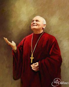 paintings of John Paul II Catholic Art, Catholic Saints, Roman Catholic, Papa Juan Pablo Ii, Saint Teresa Of Calcutta, Pope John Paul Ii, Paul 2, Religious Pictures, Mother Mary