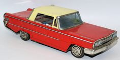 RARE Vintage Tin Lithographed Friction Powered Ford Sedan Car by Kusama (K) Shoten, Japan. Nice bright tin lithography, inside and out. Friction works well. License plate reads 1831. A large car that