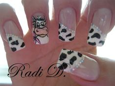All cow fans should have a set of these.at least once in their life! Crazy Nail Designs, Creative Nail Designs, Creative Nails, Nail Art Designs, Cow Nails, Animal Nail Art, Finger, Nails Only, Fabulous Nails