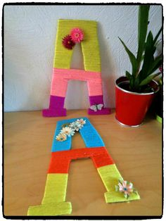 lettres en laine, décoration chambre enfant, diy enfant