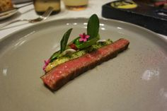 Last of the mains. Seafood restaurant doing wagyu justice. Miyazaki A5 Wagyu - wild asparagus, grilled favas, ume at @ProvidenceLA in #LosAngeles. Miyazaki prefecture is the second largest producer of Japanese Black, and the beef has to be graded at least A4 or A5 to be Miyazaki Wagyu. A5 is less than 3% of wagyu in Japan. #California #FMFinLA #FMFProvidence #chefstasting #LA #wagyu Seafood Restaurant, Miyazaki, Asparagus, Steak, Grilling, At Least, California, Japanese