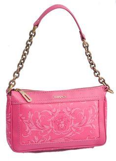 Versace Pink Baroque Gold Chain Shoulder Bag