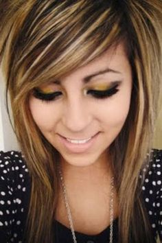 Blonde And Brown Scene Hair Brown And Blonde Scene Hair Hairstyles Blonde Scene Hair, Brown Scene Hair, Brown Blonde Hair, Blonde Shades, Blonde Streaks, Golden Blonde, Blonde Brunette, Cute Hairstyles For Medium Hair, Pretty Hairstyles