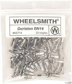 Bike Spokes - Wheelsmith 20 x 16mm Silver Brass Nipples Bag of 50 *** Read more at the image link.