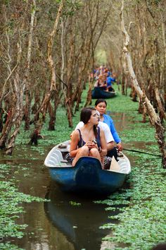 Tourists visiting the melaleuca forest in the Mekong Delta. Mekong Delta Vietnam, Vietnam Map, South Vietnam, Vietnam Travel, Asia Travel, Vietnam Vacation, Rafting, Adventure Travel, Beautiful Places