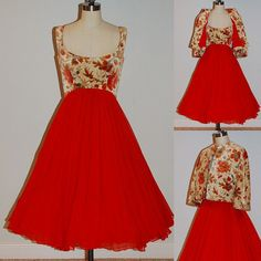 1960s 60s Party Dress Set Red Chiffon Floral by daisyandstella, $660.00