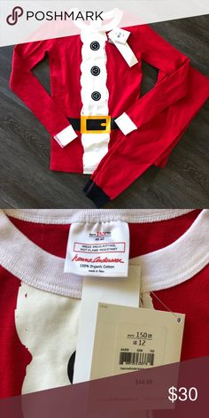 ed767e2a1f5 Hanna Andersson Long John Elf Print Size euro 150  US 12. Unisex. Red