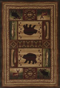 Contours Bear Wilderness Toffee Area Rug - 5 Sizes Available
