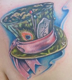 Alice in wonderland Mad Hatter Hat tattoo by Johnny Smith