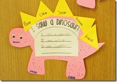 Fun integration of words to practice, writing sentences, and dinosaurs! Kindergarten Writing, Teaching Reading, Literacy, Teaching Ideas, First Grade Phonics, First Grade Reading, Dinosaur Activities, Phonics Activities, Word Study