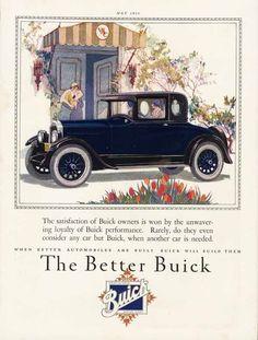BUICK Car Auto Ad - 1926 - 2 Door Coupe - Woman Driver - Spoke Wheels