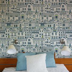 I'm kinda digging this - Coastal Cottages Wallpaper via NotOnTheHighStreet