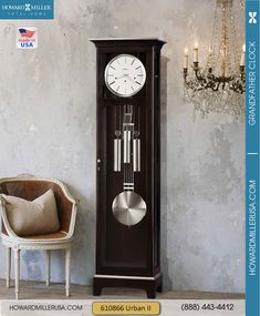 Contemporary Espresso Finish Floor Grandfather Clock | 610866 Howard Miller