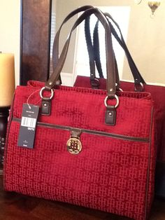 Tommy Hilfiger bag for Fall --- burgundy-red with chocolate brown leather and gold hard wear
