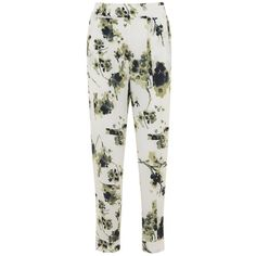 Mint Velvet Elle Print Tapered Trousers, Multi (6.655 RUB) via Polyvore featuring pants, white trousers, white floral pants, elastic pants, patterned pants и floral print pants