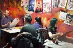 Primer Festival de la Caricatura y el Retrato. En Café-Pub Living Room. 2016.
