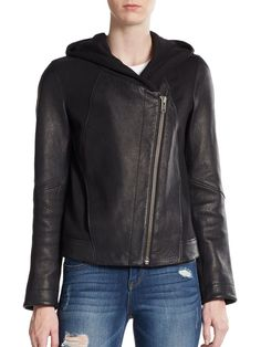 AUTH $995 Helmut Lang Wither Hooded Leather Jacket in Black- Size M #HelmutLang…
