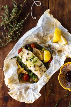 a non-traditional thanksgiving feast: baked fish in parchment - The Clever Carrot Fish Recipes, Seafood Recipes, Cooking Recipes, Keto Recipes, Vegetarian Recipes, Thanksgiving Traditions, Thanksgiving Feast, Easy Healthy Recipes, Quick Easy Meals