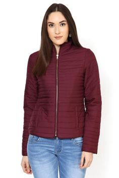 The nylon quilted jacket is inspired from the down feather sporty jacket look. The golden zipper at front and at cuffs adds to the detailing of this chic winter short jacket. Winter Shorts, Quilted Jacket, Bomber Jacket, Winter Jackets, Turtle Neck, Sporty, Hoodies, Chic, Sweaters