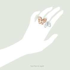 Van Cleef & Arpels Flying Butterfly Between the Finger™ Ring. White gold, pink gold, diamonds. Find out more about the Between the Finger Rings.