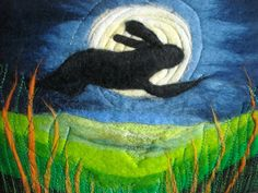leaping hare hare and moon felt  art by SueForeyfibreart on Etsy, $63.00