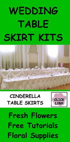 http://www.wedding-flowers-and-reception-ideas.com/table-skirting-kits.html - Gorgeous DIY skirting kits for head tables, cake tables and more