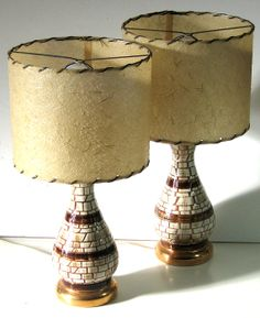 Mid Century Mosaic Style Lamps Vintage Mosaic by flabbyrabbit, $119.25    Similar to the pair I have, tho smaller.   Looking for lampshades!