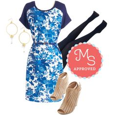 In this outfit: In Fanciful Flight Dress, Layer It On Tights in Navy, Wowed and Clear Earrings, Wave the Day Wedge #dresses #tights #floral #unique #vintage #ModCloth #ModStylist #fashion #outfits #ootd #spring #summer #style