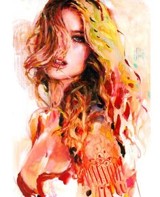 Nice woman watercolor painting designs