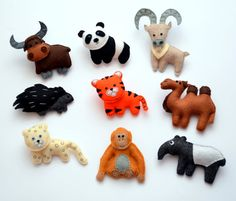 Asian animals - Felt fridge magnets - CHOOSE YOUR ITEMS - Price per 1 item - make your own set op Etsy, 6,58 €