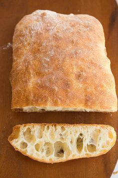 Ciabatta Bread Recipe-must start at least 8 hours-up to 24 hours before baking because it uses sponge. I see ciabatta bread in my future. Bread Bun, Bread Rolls, Rye Bread, Homemade Ciabatta Bread, Homemade Breads, Bread Machine Recipes, Ciabatta Bread Machine Recipe, Water Bread Recipe, Vegetarian Recipes