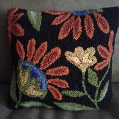 12 x 12 Hook, or Rug Punch Pattern THe Garden. Pillow directions not included. Pattern on paper with tracing mesh Color photo Rug Hooking Designs, Rug Hooking Patterns, Rug Yarn, Punch Needle Patterns, Latch Hook Rugs, Flower Pillow, Penny Rugs, Needlepoint Kits, Print Patterns