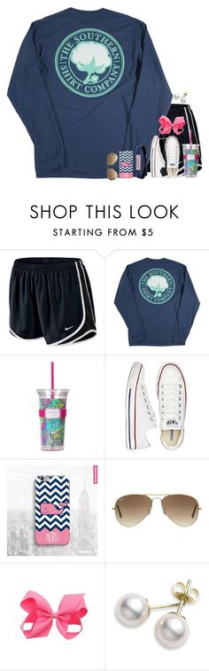 """""""Claire"""" by remiii13 ❤ liked on Polyvore featuring NIKE, Lilly Pulitzer, Converse, Vineyard Vines, Ray-Ban and Mikimoto"""