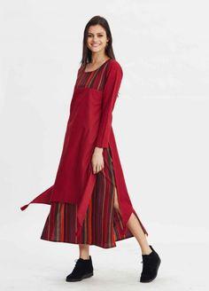 Kırmızı Renkli Çizgili Galata Elbise - Fotoğraf