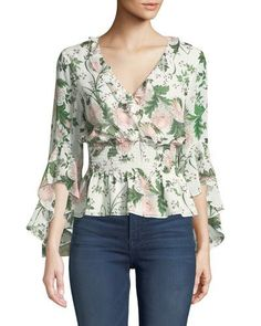 Shop Floral Smocked-Waist Chiffon Blouse from Max Studio at Neiman Marcus Last Call, where you'll save as much as on designer fashions. Blouse Styles, Blouse Designs, Hijab Styles, Blouse Batik, Sewing Blouses, African Traditional Dresses, Polo, Blouse And Skirt, Dress Patterns
