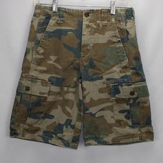 c336b67182f Details about LL Beans Green Camouflage Cargo Shorts Young Mens Size 14