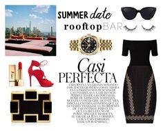 """Summer date : luxury rooftop bar"" by vanhanouka ❤ liked on Polyvore featuring Whiteley, Miss Selfridge, Hervé Léger, Tabitha Simmons, 3.1 Phillip Lim, Yves Saint Laurent, Sondra Roberts, Rolex, summerdate and rooftopbar"