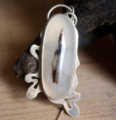 Agate silver pendant giant leaf romantic style pendant by iatzil